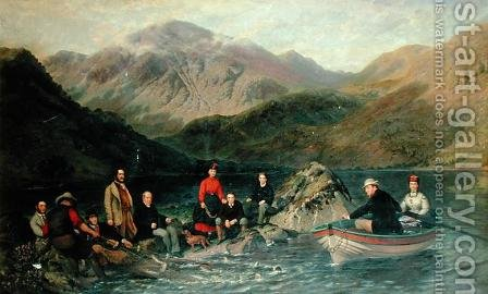 Fishing at Haweswater by Jacob Thompson - Reproduction Oil Painting