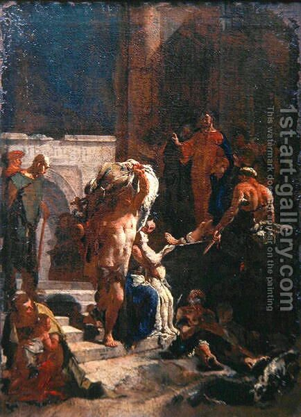 Healing of a Sick Man at the Pool of Bethesda, c.1718-20 by Giovanni Domenico Tiepolo - Reproduction Oil Painting