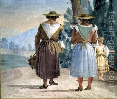 Two Peasant Women and a Child Seen from Behind, from the Foresteria Guesthouse 1757 by Giovanni Domenico Tiepolo - Reproduction Oil Painting