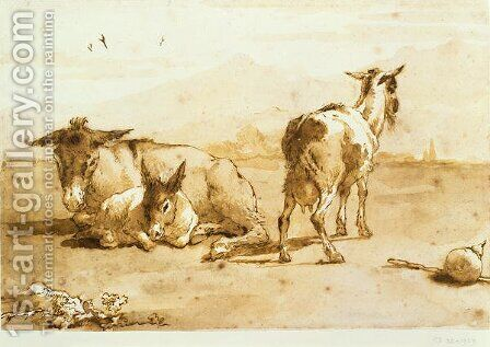 PD.32-1959 Two Donkeys and a Goat in a Landscape by Giovanni Domenico Tiepolo - Reproduction Oil Painting