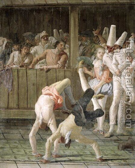 Pulcinella with Acrobats, c.1793 by Giovanni Domenico Tiepolo - Reproduction Oil Painting