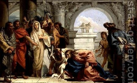 Christ and the Woman Taken in Adultery, 1750-53 by Giovanni Domenico Tiepolo - Reproduction Oil Painting