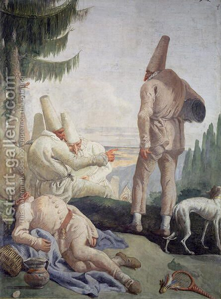 Pulcinella on Holiday by Giovanni Domenico Tiepolo - Reproduction Oil Painting
