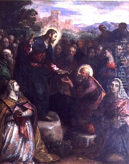 Christ Delivering the Keys to St. Peter with St. Jacinta and St. Justina of Padua by Domenico Tintoretto (Robusti) - Reproduction Oil Painting