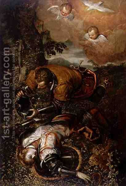 Tancred Baptizing Clorinda, c.1586-1600 by Domenico Tintoretto (Robusti) - Reproduction Oil Painting