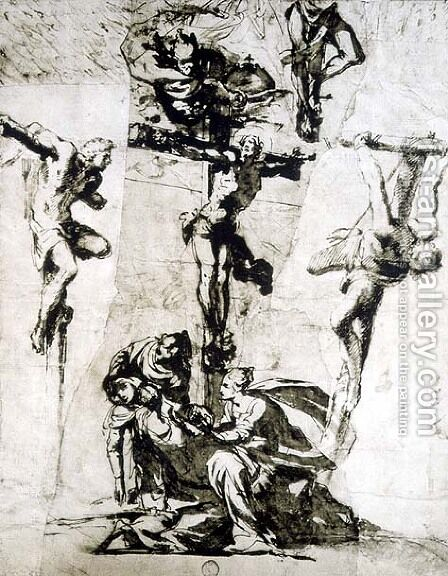 Study of the Crucifixion and the Swooning Virgin by Domenico Tintoretto (Robusti) - Reproduction Oil Painting