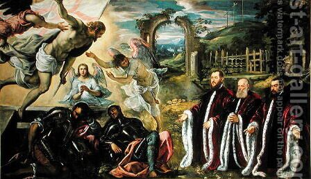The Resurrection of Christ and a portrait of of three lawyers by Domenico Tintoretto (Robusti) - Reproduction Oil Painting