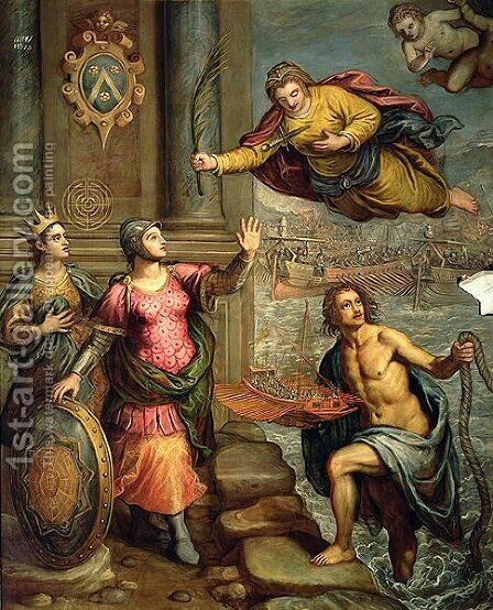 A Sailor offering a model boat to St. Justin by Domenico Tintoretto (Robusti) - Reproduction Oil Painting