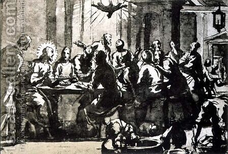 The Last Supper by Domenico Tintoretto (Robusti) - Reproduction Oil Painting