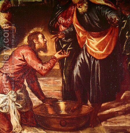 Christ Washing the Feet of the Disciples by Jacopo Tintoretto (Robusti) - Reproduction Oil Painting