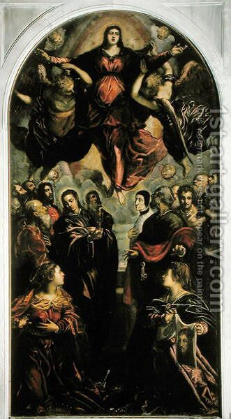 Assumption of the Virgin by Jacopo Tintoretto (Robusti) - Reproduction Oil Painting