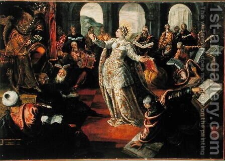 The Dispute of Catherine of Alexandria with the philosophers by Jacopo Tintoretto (Robusti) - Reproduction Oil Painting