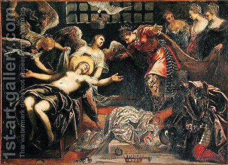 Saint Catherine of Alexandria receives a visit from the Roman Empress Faustina whilst in Prison by Jacopo Tintoretto (Robusti) - Reproduction Oil Painting