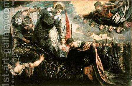 Saint Catherine prepares for her exexcution by Jacopo Tintoretto (Robusti) - Reproduction Oil Painting