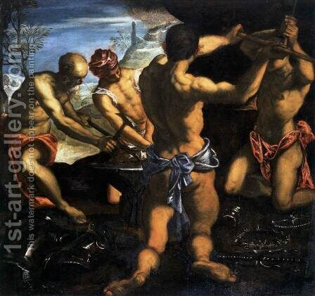 Vulcans Forge by Jacopo Tintoretto (Robusti) - Reproduction Oil Painting