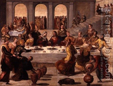 The Wedding Feast at Cana, c.1545 by Jacopo Tintoretto (Robusti) - Reproduction Oil Painting