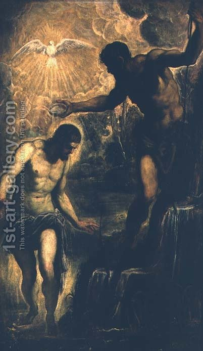 The Baptism of Christ by Jacopo Tintoretto (Robusti) - Reproduction Oil Painting