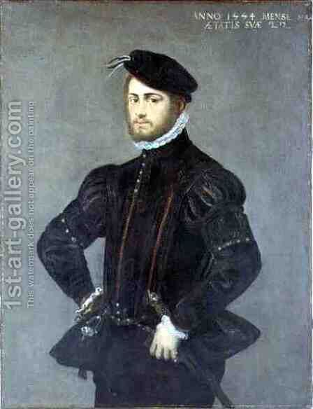 Portrait of a Young Man, aged 22, 1554 by Jacopo Tintoretto (Robusti) - Reproduction Oil Painting