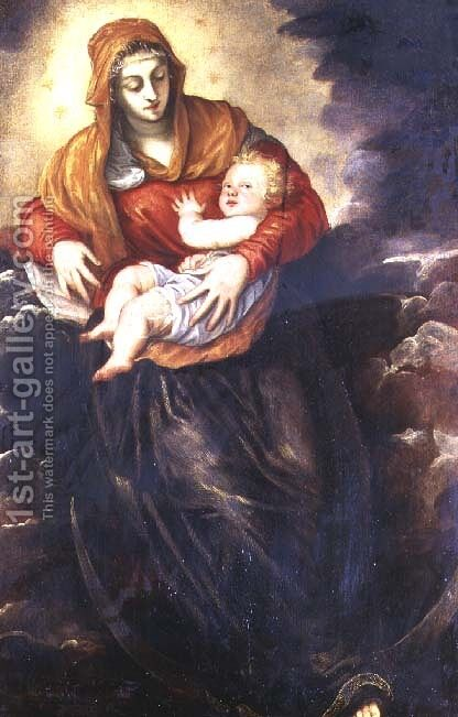 Madonna and Child by Jacopo Tintoretto (Robusti) - Reproduction Oil Painting