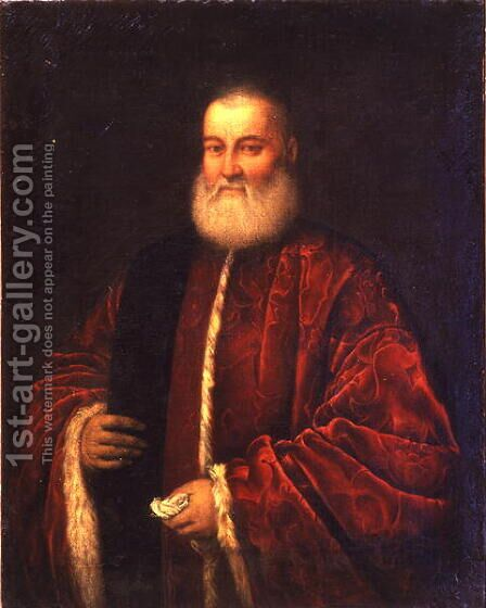 Portrait of an Old Man in Red Robes by Jacopo Tintoretto (Robusti) - Reproduction Oil Painting