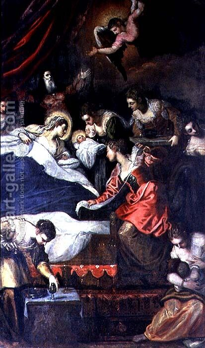 Birth of the Virgin by Jacopo Tintoretto (Robusti) - Reproduction Oil Painting