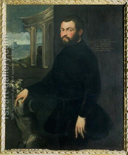 Jacopo Sansovino 1486-1570, originally Tatti, sculptor and State architect in Venice by Jacopo Tintoretto (Robusti) - Reproduction Oil Painting