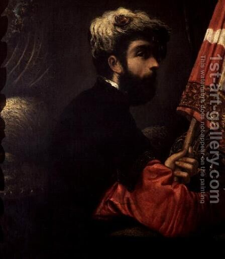 Portrait of a Man as Saint George, c.1540-50 by Jacopo Tintoretto (Robusti) - Reproduction Oil Painting
