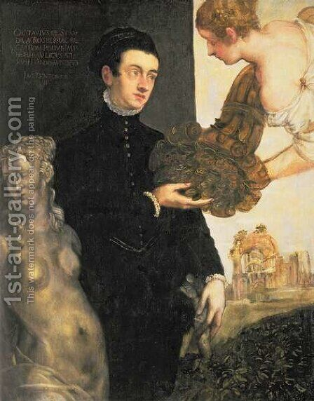 Ottavio Strada 1549-50-1612, designer of jewellery, miniaturist and archaeologist, son of Jacopo Strada 1515-88 by Jacopo Tintoretto (Robusti) - Reproduction Oil Painting