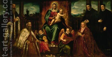 Doge Alvise Mocenigo and Family before the Madonna and Child, c.1573 by Jacopo Tintoretto (Robusti) - Reproduction Oil Painting