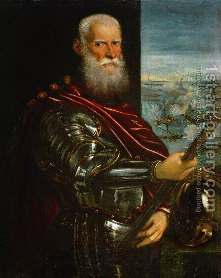 Portrait of Sebastiano Vernier d.1578 Commander-in-Chief of the Venetian forces in the war against the Ottoman Empire with the battle of Lepanto in the background, c.1571 by Jacopo Tintoretto (Robusti) - Reproduction Oil Painting