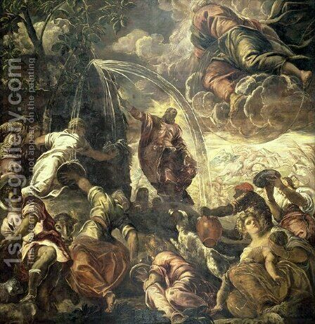 Moses Striking Water from the Rock, 1575 by Jacopo Tintoretto (Robusti) - Reproduction Oil Painting