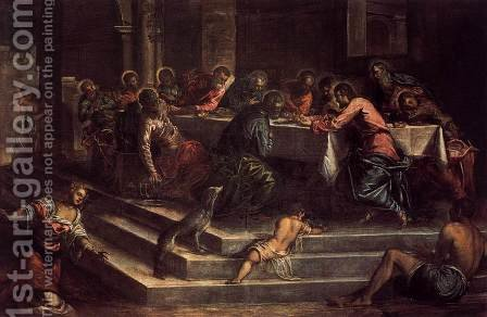 Last Supper 2 by Jacopo Tintoretto (Robusti) - Reproduction Oil Painting