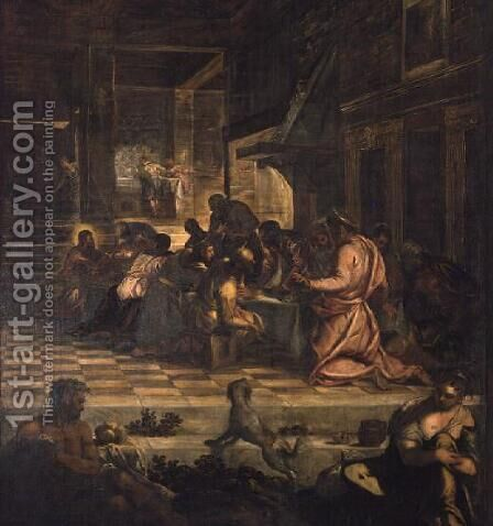 The Last Supper 4 by Jacopo Tintoretto (Robusti) - Reproduction Oil Painting