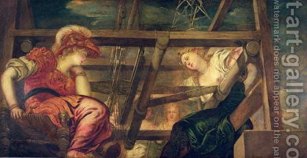 Athene and Arachne, c.1475-85 by Jacopo Tintoretto (Robusti) - Reproduction Oil Painting