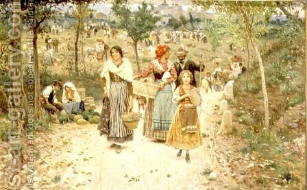 Returning from the Village Fete by Aurelio Tiratelli - Reproduction Oil Painting
