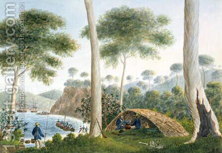 Native Hut or Wigwam of Adventure Bay, Van Diemans Land, 1792 by Captain George Tobin - Reproduction Oil Painting