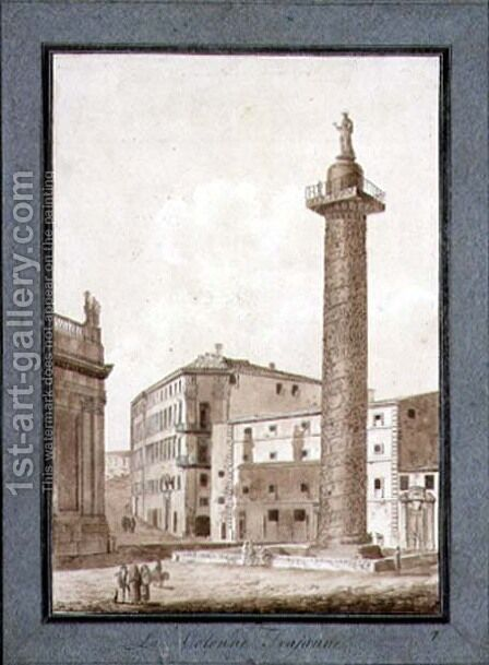Trajans Column, Rome by Agostino Tofanelli - Reproduction Oil Painting