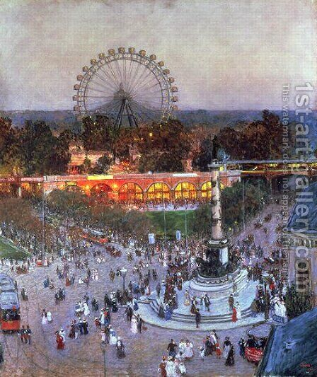 The Admiral Tegetthoff Monument at the Praterstern with the Ferris Wheel, Vienna by Heinrich Tomec - Reproduction Oil Painting