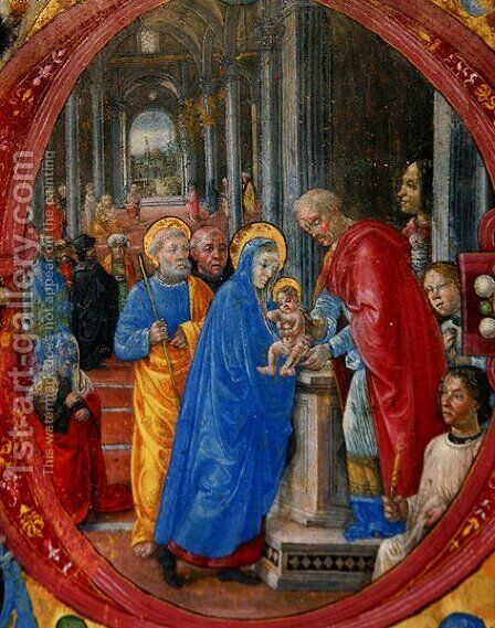 Corale B 26 c.113r Historiated initial C depicting the Presentation in the Temple, with a portrait of Lorenzo the Magnificent 1449-92 by a column on the right hand side by di Baldassare (Frate Eustachio) Tommaso - Reproduction Oil Painting
