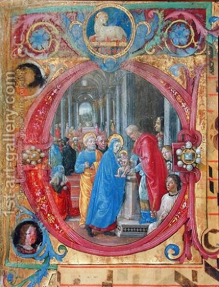 Corale B 26 c.113r Historiated initial C depicting the Presentation in the Temple, with a portrait of Lorenzo the Magnificent 1449-92 by a column on the right hand side 2 by di Baldassare (Frate Eustachio) Tommaso - Reproduction Oil Painting