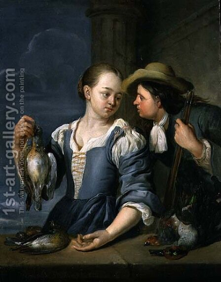 A Young Couple Returning from Shooting with Game, 1678 by Jacob Toorenvliet - Reproduction Oil Painting