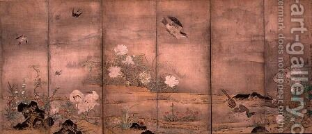 Birds and Flowers in a Landscape, left screen, 1575 by Hagetsu Tosatsu - Reproduction Oil Painting