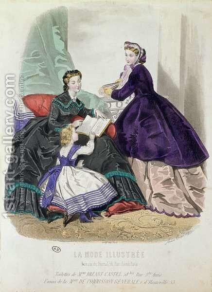 Fashion plate showing clothes designed by Madame Breant-Castel, from La Mode Illustree, 1864 by Anais (or Colin, Adele Anais) Toudouze - Reproduction Oil Painting