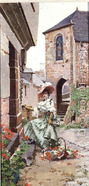 Parisian Woman with a basket of flowers by Edouard Toudouze - Reproduction Oil Painting