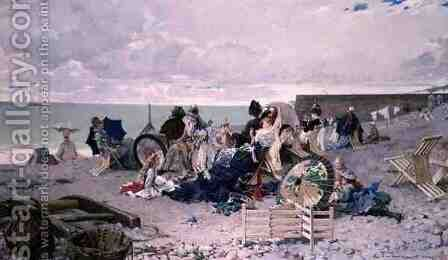 Beach at Yport, 1878 by Edouard Toudouze - Reproduction Oil Painting