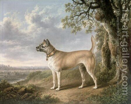 A Terrier on a path in a wooded landscape by Charles Towne - Reproduction Oil Painting