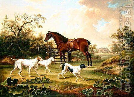A Bay Hunter and Three Pointers in a Landscape with Lyston Hall Beyond by Charles Towne - Reproduction Oil Painting