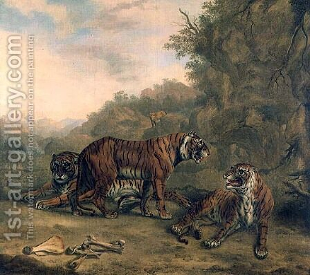 Tigers in a Wooded Landscape by Charles Towne - Reproduction Oil Painting