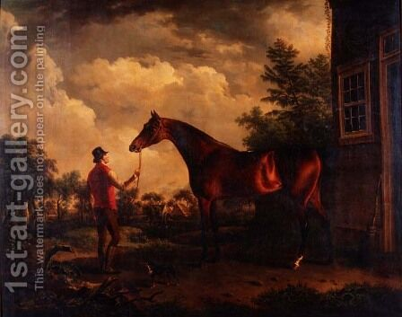 A hunter and groom outside a country house, 1816 by Charles Towne - Reproduction Oil Painting