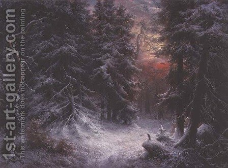 Snow Scene in the Black Forest by Carl Friedrich Wilhelm Trautschold - Reproduction Oil Painting